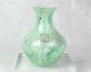 Vintage Caithness Art Glass Posy Bud Vase Cased Spatter Glass Aqua White w/Label