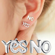 Simple Lovely 925 Silver Couple YES & NO Ear Stud Earrings Jewelry Gift