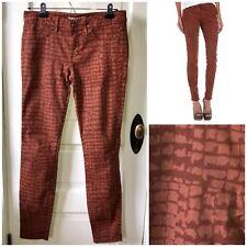 Rich & Skinny Women's Sz 27 Rust Crocodile Printed Skinny Jeans