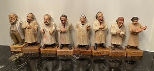 """Vintage Wood Hand Carved and Painted Doctors Figurines Germany 6"""" Lot of 10"""