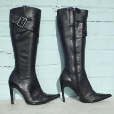 Topshop Black Leather Boots Size Uk 6 Eur 39 Womens Ladies Buckle Stiletto Boots