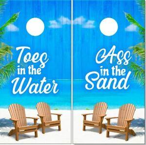 Beach Scene Toes in the Water Cornhole Wrap Bag Toss Skin Decal Sticker Wraps