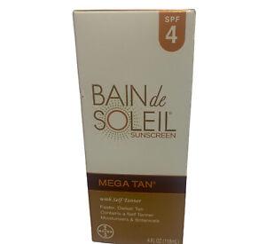 BAIN DE SOLEIL MEGA TAN SUNSCREEN LOTION 4oz DISCONTINUED SPF4 SELF TANNER 06/20