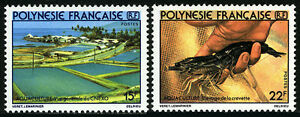 French Polynesia 331-332, MNH. Fish hatchery, Crayfish, 1980