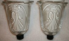 Home Interiors Homco 2 Angel Embossed Votive Cups Sconce Candle Holders w/groms