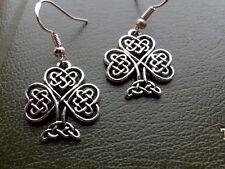 "Celtic Wire Shamrock 1"" Charm Earrings on .925 Sterling Silver French Hooks"