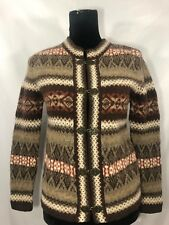 Susan Bristol Womens Size XS 100% Wool Brown Nordic Style Long Sleeve Cardigan