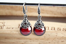 Deep Red Garnet Earrings .925 Sterling Silver Vintage Design Quality Stone
