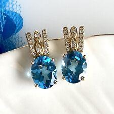 Genuine Blue Topaz, Diamonds & Solid 14K Yellow Gold Dangle/Drop Earrings, New