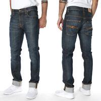 Nudie Herren Slim Fit Stretch Jeans Hose Thin Finn Cold Denim Vintage Blue
