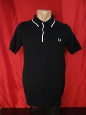 """Fred Perry Mens S Small Polo Shirt Black Short Sleeves 19"""""""