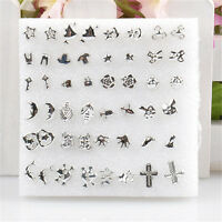 Fashion Bulk 24 Pairs Unisex Mix Styles Silver Plated Stud Earrings Wholesale