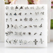 Silver Bulk 24 Pairs Unisex Mix Styles Silver Plated Stud Earrings Wholesale FT