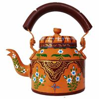 Hand Painted Tea Kettle Indian Traditional Aluminum Home Décor Floral Antique 1L