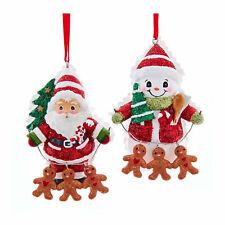 Set/2 Kurt Adler Gingerbread Chain Snowman Santa Christmas Tree Ornaments Decor