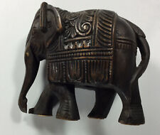 """Vintage Hand Carved Solid Wood Intricate Elephant Figurine Detailed 5"""" x 4"""""""