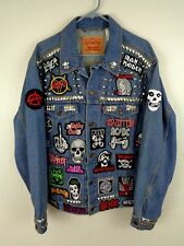 heavy metal punk rock battle jacket patches studs spikes levi denim large
