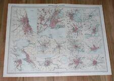 1922 VINTAGE MAP NEW YORK SAN FRANCISCO WASHINGTON CHICAGO NEW ORLEANS TORONTO