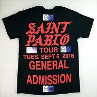 SAINT PABLO TOUR MERCH BLACK GENERAL ADMISSION TEE T SHIRT M L XL TLOP KANYE NYC