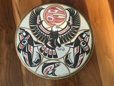 Northwest Coast Indian Drum Signed by Clarence A. Wells