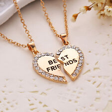 Best Friend Forever 2 Piece Pendants Love Heart Friendship Necklace gold &silver