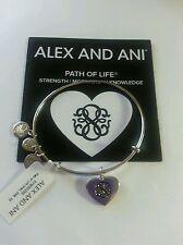 Alex and Ani PATH OF LIFE HEART Shiny Silver Charm Bangle Bracelet BOX NWT