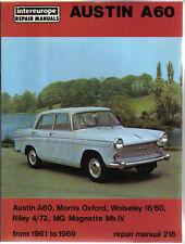 AUSTIN A60 MORRIS Oxford Wolseley 16/60 Riley 4/72 Magnette IV Workshop Manual