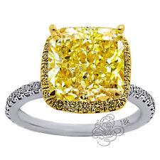 3.59CT Lab Radiant Cushion Cut Yellow & VS Diamond Engagement Ring 18K W/Y GOLD