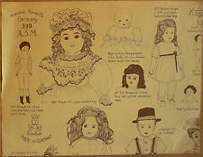 German Dolls Identification Chart-Paper by Sandy Williams, Copyright 1976