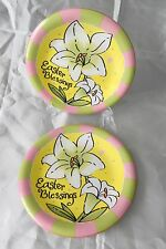 "Flower Power Cracker Barrel Two Luncheon Plates 8 1/8"" Easter Blessings Lily"