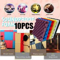10pcs Sound Absorbing Sponge Foam Soundproofing Acoustic Studio Wall Home