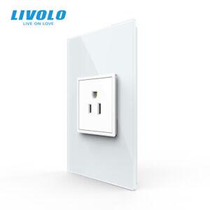 LIVOLO US AC Multi Plugs Wall Socket Socket 15A Glass Panel White