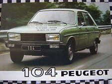 brochure PEUGEOT 104 ZS ZR ZA GR GL S SR 1980 français couleurs