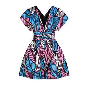 Women Boho African Retro Print Playsuit Mini Shorts Jumpsuit Summer Beach Romper