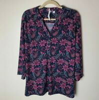 NY Collection Women's Top Size XL 3/4 Sleeves Paisley Casual Work Career