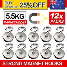 12x Strong Rare Earth Neodymium N38 Magnetic Hanger Holder Magnet Hooks AU 5.5kg