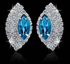 GORGEOUS 18K WHITE GOLD PLATED TURQUOISE AND CLEAR CUBIC ZIRCONIA EARRINGS