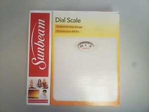 SUNBEAM Dial Scale Bathroom Scale Accurate to 300lbs Compact White BRAND NEW