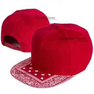 Baseball Cap Bandana Paisley Flat Visor Snapback Hat Adjustable Blank Solid Men