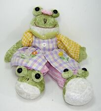 FROG Stuffed Animal Plush Wearing GINGHAM DRESS and SLIPPERS Pink Yellow Purple