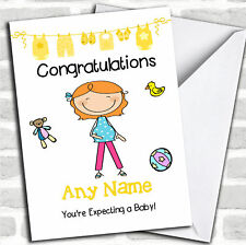 Red Haired Mum To Be Expecting A Baby Pregnancy Customised Card