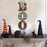 Home Door Crafts Wooden Board Plaque Halloween Boo Wall Decoration Hanging Sign