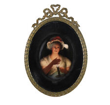 Continental Porcelain Miniature Portrait Plaque in Bronze frame c1900 Lisette