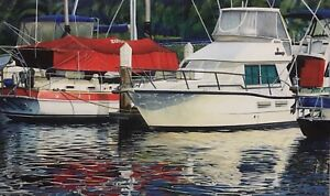 """Original Watercolour Painting by Mark Burton """"Between Cruises"""" Signed & Dated 97"""