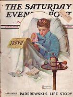 1937 Saturday Evening Post January 23 Norman Rockwell; Paderewski Life Story