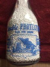 TRPQ War Slogan Blue Pyro Quart Milk Bottle Ideal Dairy Allentown Pennsylvania