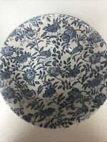 """CHURCHILL BLUE PEONY  9 5/8"""" ROUND VEGETABLE SERVING BOWL - BLUE & WHITE FLORAL"""