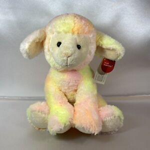 Russ Baby Lamb Strawberry Plush Stuffed Animal Rattle Pink Yellow NOS