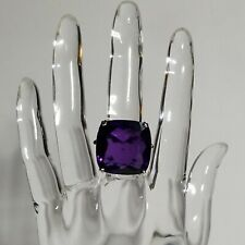 Sterling Silver 925 Bling Ring w/Huge Square Purple Rhinestone&6 Pink Stones sz8