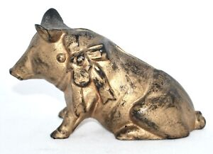 Scarce early 1900's Cast Iron Pig with a Bow Bank